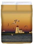 Cascumpec Lighthouse On Prince Edward Island Duvet Cover