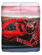 Casey Stoner On Ducati Duvet Cover
