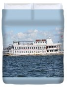 Casino Boat Coming Into Port Duvet Cover