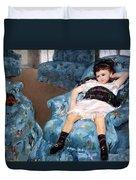 Cassatt's Little Girl In A Blue Armchair Duvet Cover