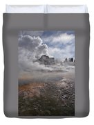 Castle Geyser In Winter Duvet Cover