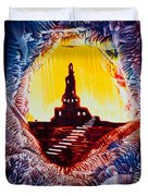 Castle Rock Silhouette Painting In Wax Duvet Cover