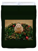 Cat And Christmas Wreath Duvet Cover