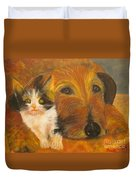 Cat And Dog Original Oil Painting  Duvet Cover