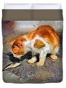 Cat  And Fish Duvet Cover