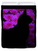 Cat And Flowers Midnight Silhouette Duvet Cover