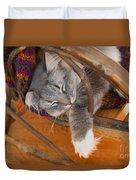Cat Asleep In A Wooden Rocking Chair Duvet Cover
