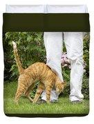 Cat Brushing Against Legs Duvet Cover