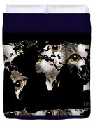 Cat Eyes World Map 2 Duvet Cover by Andee Design