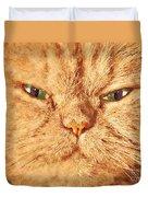 Cat Face Close Up Portrait. Painted Effect Duvet Cover