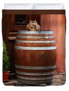 Cat Guarding A Wine Barrel In Alsace Duvet Cover