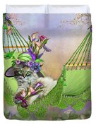 Cat In Calla Lily Hat Duvet Cover