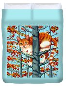 Orange Cat In Tree Autumn Fall Colors Duvet Cover