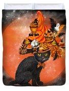 Cat In Halloween Cupcake Hat Duvet Cover
