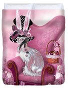 Cat In Mad Hatter Hat Duvet Cover by Carol Cavalaris