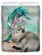 Cat In Summer Beach Hat Duvet Cover