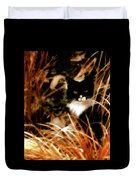 Cat In The Golden Grass Duvet Cover