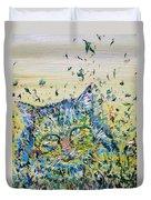 Cat In The Grass Duvet Cover