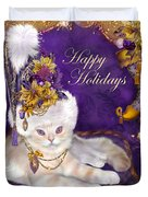 Cat In Victorian Santa Hat Duvet Cover