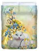 Cat In Yellow Easter Hat Duvet Cover