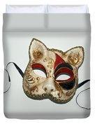 Cat Masquerade Mask On White Duvet Cover