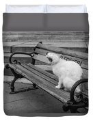 Cat On A Bench Duvet Cover