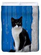 Cat On A Greek Island Duvet Cover