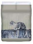 Cat On A Stone Wall Duvet Cover