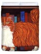 Cat On Book Shelf Duvet Cover