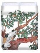 Cat Art Modern Japanese Torn Newspaper Collage Art By Bless Hue Duvet Cover