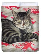 Cat On Quilt  Duvet Cover
