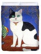 Cat On Thanksgiving Table Duvet Cover