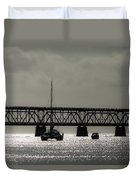 Catamaran Anchored At Old Bahia Honda Bridge Duvet Cover