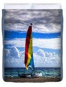 Catamaran At The Beach Duvet Cover