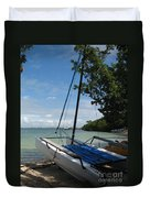 Catamaran On The Beach Duvet Cover