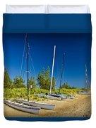 Catamaran Sailboats On The Beach At Muskegon No. 601 Duvet Cover