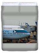 Cathay Pacific 747 Jumbo Jet Parked At Hong Kong Airport Duvet Cover
