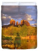 Cathedral Rock Reflected In Oak Creek Duvet Cover by Tim Fitzharris