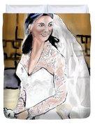 Catherine Duchess Of Cambridge Print  Duvet Cover by Eric  Schiabor
