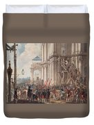Catherine II On The Balcony Of The Winter Palace, Greeted By Guards And People On The Day Duvet Cover