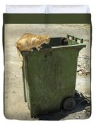 Cats On And In Garbage Container Duvet Cover