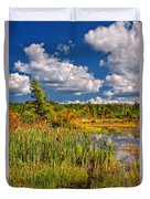 Cattails And Clouds Duvet Cover