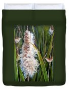 Cattails And Wrens Duvet Cover