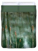 Cattails On Green Duvet Cover