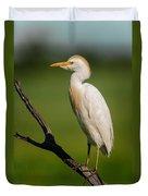 Cattle Egret On Stick Duvet Cover