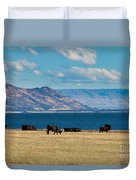 Cattle Grazing At Hawea Lake In Southern Alps In New Zealand Duvet Cover