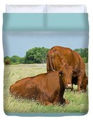 Cattle Grazing In Field Duvet Cover