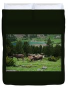 Cattle Grazing In The Pyrenees Duvet Cover