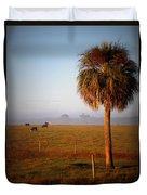 Cattle Grazing On Foggy Morning 1 Duvet Cover