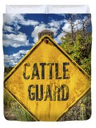 Cattle Guard Road Sign Duvet Cover